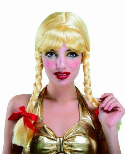 Sexy Schulmädchen Blonde Perücke mit Zöpfen Verkleidung Halloween Accessoire