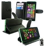 Emartbuy® Nokia Lumia 530 / Lumia 530 Dual Sim Funda Wallet Soporte de Sobremesa Carcasa Case Cover PU Cuero Alta Calidad para Negro con Tarjeta de Crédito Slots