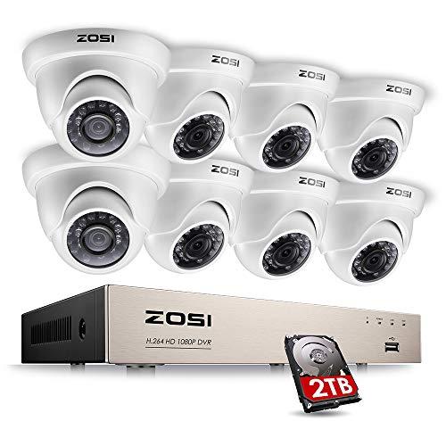 ZOSI 1080P CCTV Kamera Sytem 8CH 1080P Netzwerk DVR Recorder mit 8x 2.0MP(1920x1080P) Outdoor Dome Überwachungskamera Set 2TB Festplatte, Bewegungsmelder, 20M IR Nachtsicht Linux-cctv-dvr
