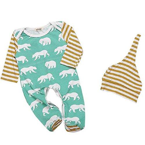 Bekleidung Longra Christmas Baby Jungen Mädchen Outfit Baumwollkleidung Tier Print Streifen-T-Shirt + lange Hose + Hüte 1Set (0-2Jahre) (70)