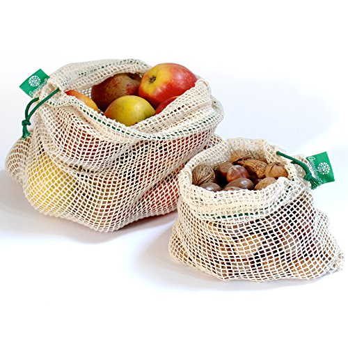 Wiederverwendbare Obst- und Gemüsebeutel aus Bio-Baumwolle mit Kordelzug - Einkaufsnetz / Lebensmittelbeutel im 2er Set grün (L,M) (Bio-obst Und Gemüse)