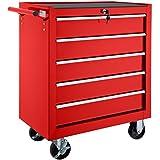 TecTake 800561 - Carrello Portautensili con 5 Cassetti, Bloccabile, Cassetta degli Attrezzi Mobile con Rotelle - disponibile in Diversi Colori (Rosso | No. 402796)