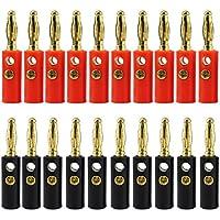 KEESIN 10 Paare Bananenstecker-Gold überzogener 4mm Audiolautsprecher-Draht-Kabel-Verbindungsstück (Tippe A)