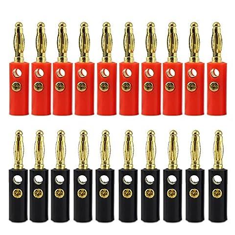 10paires keesin Fiche banane 4mm plaqué or audio Haut-parleur Câble connecteur