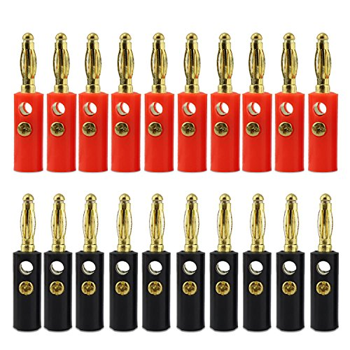 keesin 10 pares conector banana chapado en oro 4 mm Cable de altavoz de audio cable conector