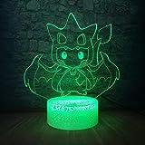 3D Veilleuse Pokemon Ventilateurs Mignon Action Figure Couleurs Gradient 3D Lampe Led Night Light Table Éclairage De Noël Nouvel An Cadeaux Enfant Chambre Décor