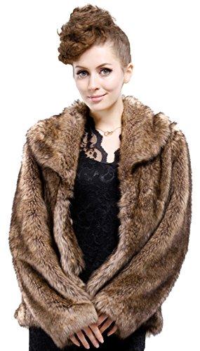Adelaqueen Frauen Braunes Langes Haar Coyote Kurzes Faux-Pelz-Mantel / Jacke Größe XS