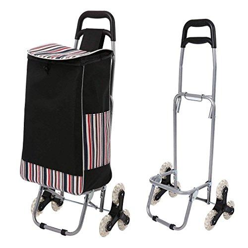 Qulista Easy Treppensteigen - Faltbar Einkaufstrolley Einkaufsroller 32L Wasserdicht mit Abnehmbarer Tasche,Tragkraft 70kg, Aluminium
