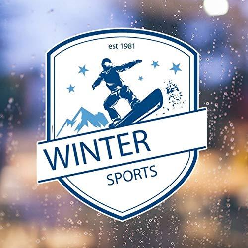 Fuwuxin Home Wintersport Skifahren Ski und Schuhe Schnee Berg Aquarell Retro Abbildung entfernbare Wandaufkleber Kunst Aufkleber Wandbild DIY Tapete für Zimmer Aufkleber (Size : 50cm)