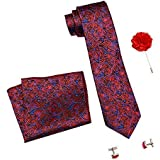 Axlon Formal/Casual Printed Polyester Necktie Set with Pocket Square, Lapel Pin and Cufflinks for Men (Free Size, Red…