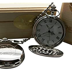 NASA Logo Silver Pocket Watch Full Hunter with Chain Luxury Gift Box Space Shuttle Moon