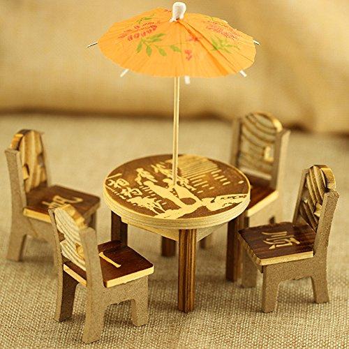 Sanwood 6 Stück/Set Holz Schreibtisch Stuhl Regenschirm Garten Haus Ornament Puppenhaus Pflanztop-Figur DIY Outdoor Deko Home Dekoration Zufällige Zufallsprinzip