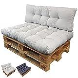 Palettenkissen Set Basix - Sitzkissen 120 x 80 x 15 cm und Rückenkissen 120 x 40 x 7/17cm - Palettenauflagen Komplett-Set - Sitzpolster, Farbe:Grau