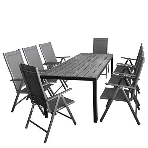 Wohaga Gartenmöbel-Set 7tlg. Sitzgarnitur mit Aluminium, Polywood Gartentisch + 8X Verstellbare...