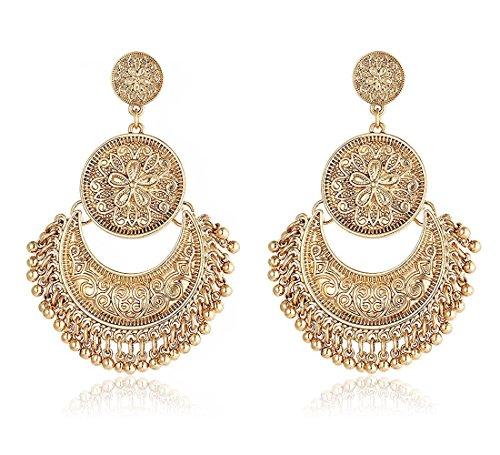Argento del rajasthan indiano ciondola tribali orecchini di pashal e base, colore: gold, cod. hoo