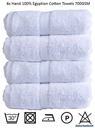 Hand Towels Egyptian Cotton 700gsm Extra Soft Top Quality Luxury Miami Towels, White by Bedding Online