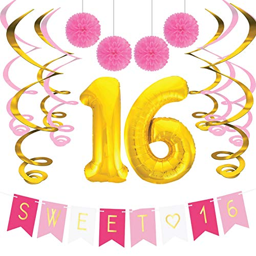 Sterling James Co. Sweet 16 Geburtstags-Party Pack - Sweet Sixteen Dekoration, Party Zubehör, Geschenke, Themen und Ideen - Runde Geburtstage Dekorationen (Dekorationen Sweet 16 Für Party Die)