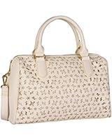 "SIX ""Sommer"" beige cremefarbene helle Damen Handtasche Bowling-Bag mit Muster Cut Outs Reißverschluss verstellbare abnehmbare Umhängeriehmen (427-231)"