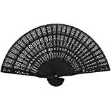 ULTNICE Hand Held Bamboo Silk Folding Fans Chinese Carved Wood Fan Portable Hand Fan Dancing Props Church Wedding Gift Party Favors (Black)