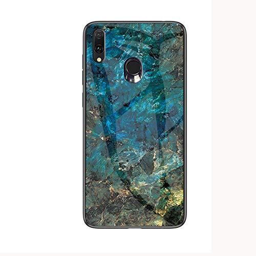 Samsung Galaxy A40 Hülle,Marmor Gehärtetem Glas & Silikon Rand Hybrid Hardcase Stoßfest Kratzfest Handyhülle Dünn Case Cover für Samsung Galaxy A40 (Blau)
