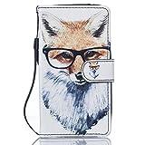ISAKEN Galaxy S5 Hülle, PU Leder Geldbörse Wallet Case Ledertasche Handyhülle Tasche Case Schutzhülle mit Handschlaufe Standfunktion für Samsung Galaxy S5 Neo - Fuchs Brillen