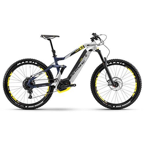 Haibike Xduro 7.0 - Bicicleta de montaña eléctrica de 500 Wh, en plateado, azul y amarillo mate, color silber/blau/gelb matt,...