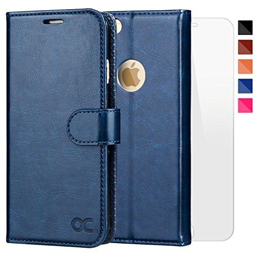 ocase iPhone 6 Hülle, iPhone 6S Hülle [Frei gehärteter Glasschirmbeschützer inbegriffen] Leder Brieftasche Hülle für Apple iPhone 6 / 6S Geräte Blau