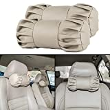 #4: Autofy Universal All Purpose Round Shaped Car Seat Pillow/Seat Cushion/Head Rest for All Cars (Beige Set of 2)