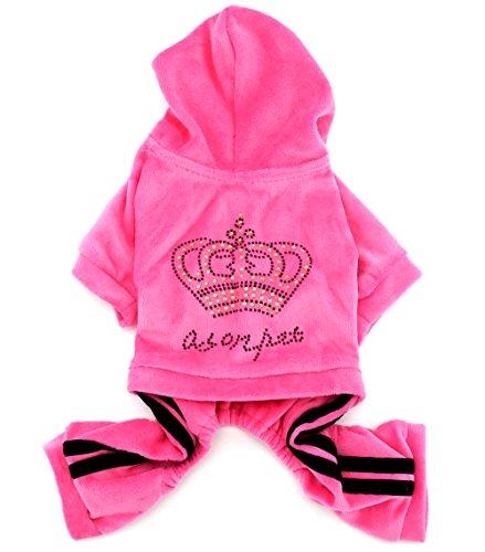weicher Samt Krone Jumpsuit/Hoodie Schlafanzug Trainingsanzug Haustier Kleidung für kleine Hunde/Katzen, groß, Rosa (Baby Rosa Pudel Kostüme)
