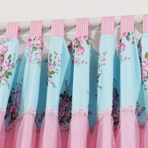 FADFAY Home Textile,Delicate Pink Rose Curtains For The Bedroom,Elegant Gingham Cotton Lace Chinese Curtains,Modern Blue Based Floral Cortinas,2Panels