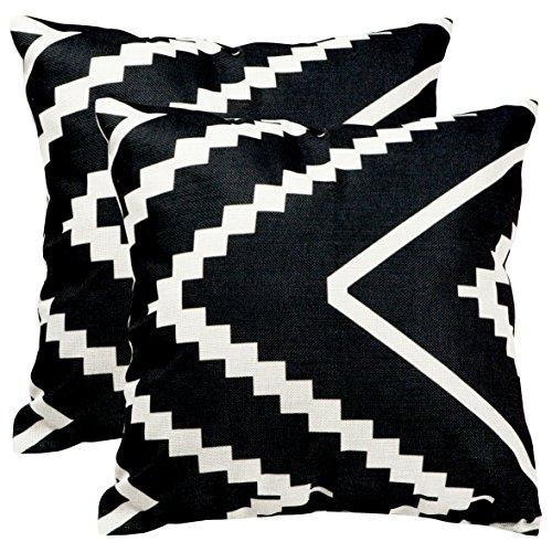 Tealp Plaid Überwurf Kissen Bezug Leinen Baumwolle Dekoratives Kissen Fall 18*18 Weiß/Schwarz -