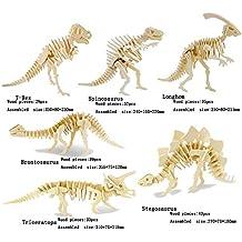Adornlife Juego de 6 piezas 3D animales de madera Puzzle Dinosaurio T-rex, Spinosaurus, Longhom, Brontosaurus, Tricerotops, Stegosaurus 3D DIY Asamblea modelo de juguete para niños y adultos