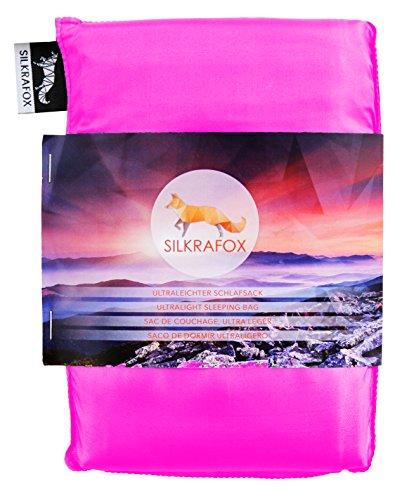 Silkrafox Saco de dormir ultraligero para las excursiones de senderismo, los viajes, las acampadas, seda artificial, fucsia