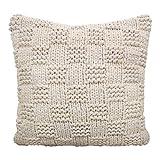 casamia Deko-Kissen Strickdesign mit Inlet und Füllung, handgefertigt Natur - wollweiß