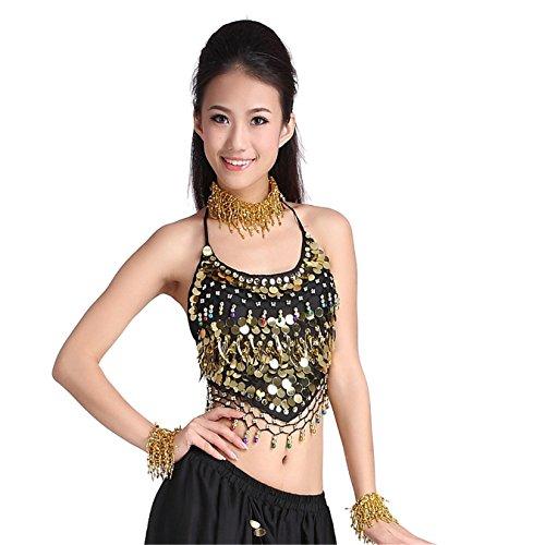 Tanz-Outfits Tanzkleidung Bauchtanz -Kostüm-Set Indian Dance Sexy Top&Indian Dance Coins Pant Performance black (Sexy Bauchtanz Outfit)