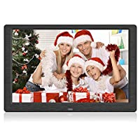 Arolun Digital Photo Frame, 10 Inch with 1920 x 1080 IPS Screen Digital Picture Frame, Support 1080P Video, Built-in Calendar, Clock and Alarm, Remote Control, Breakpoint Memory Play (Black)