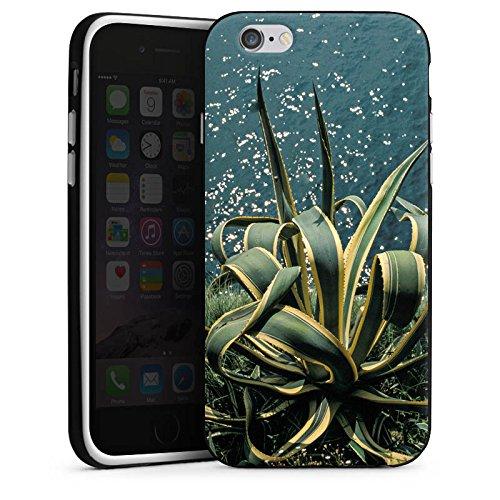 Apple iPhone X Silikon Hülle Case Schutzhülle Kaktus Ufer Blätter Silikon Case schwarz / weiß