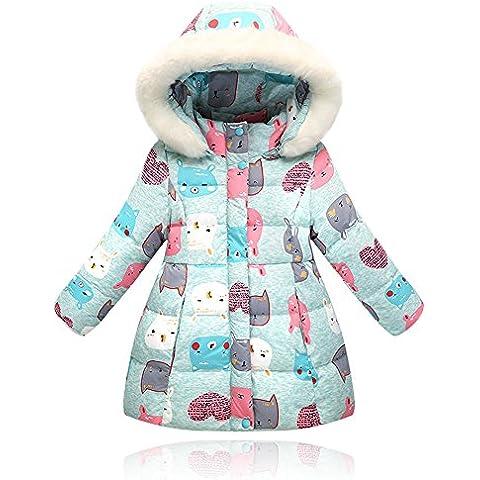 Niños niñas abajo chaqueta larga abrigo de capucha de piel de dibujos animados caliente