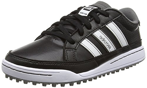 adidas 360 Traxion, Chaussures de Golf mixte enfant - Noir (Core Black/Core Black/Dark Si Ver Metallic) - 36 2/3 EU (4 UK)