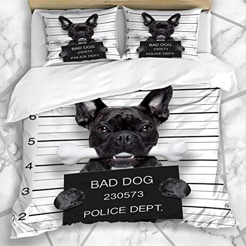 Französisch Sham (Bettbezug-Sets Criminal Bad Lustige süße französische Bulldogge hält Plakat Sport Erholung Hund Gefängnisarrest Mugshot Sonnenbrille Betrunken Mikrofaser Bettwäsche mit 2 Pillow Shams)