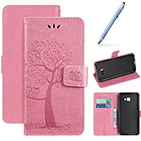 Robinsoni Samsung Galaxy J4 Plus 2018 3D Flap Painted Effect Pretty Case PU Leather Wallet Pouch Protective Cover Magnetic Flip Stand Cover Money Pouch Folio Gel Bumper Protective Cover, Pink
