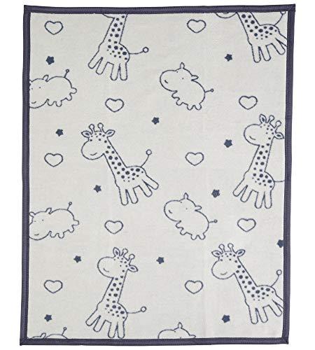 Arus, Babydecke/Erstlingsdecke/Kuscheldecke/Krabbeldecke/Spieldecke, Giraffe-Hippo, Baumwollmischgewebe, 75x100 cm, 450 gr/cm²