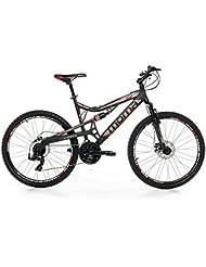 """Moma - Bicicleta Montaña Mountainbike 26"""" BTT SHIMANO, aluminio, doble disco y doble suspensión, XL (1,80-1,95m)"""