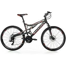 "Moma - Bicicleta Montaña Mountainbike 26"" BTT SHIMANO, aluminio, doble disco y doble suspensión, M (1,55-1,69m)"