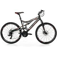 "Moma Bikes Vélo VTT, EQX 26"", Aluminium. SHIMANO 24V, Freins a Disque, Double Suspension (Plusieurs tailles)"