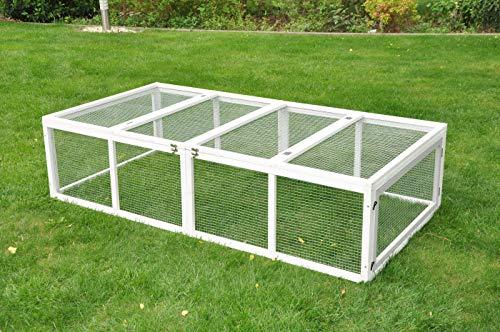 nanook Möhrchen Kaninchenstall Freilaufgehege Auslauf - Kleintiergehege und Kaninchen Außengehege - 180 x 90 cm grau/weiß Hasenstall mit Verbindung