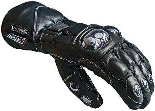 Newfacelook in cuoio nero Biker Moto Moto guanti impermeab