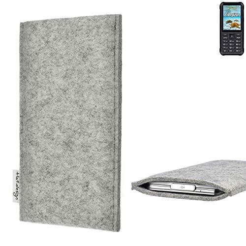 flat.design Handy Hülle Porto für Energizer H20 maßgefertigte Handytasche Filz Tasche Schutz Case fair grau