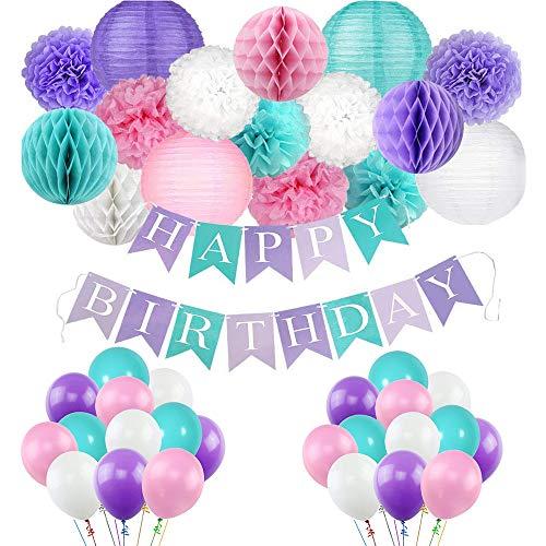 Kalolary Geburtstag Dekoration Set, Happy Birthday Dekoration, Alles Gute zum Geburtstag Banner, Meerjungfrau Geburtstag Dekorationen, Einhorn Luftballons, Papierlaterne und Honeycomb Balls Pack