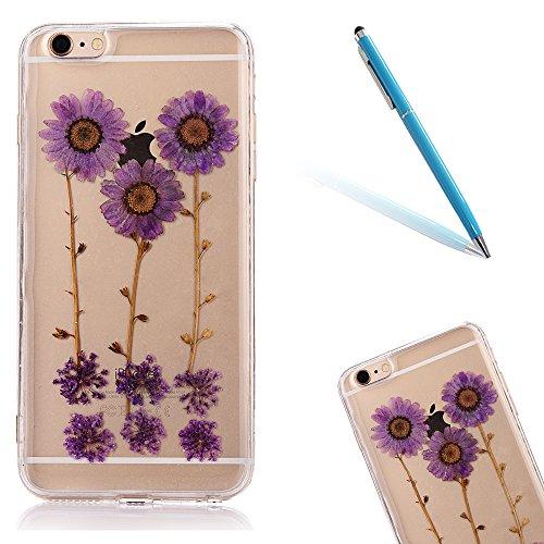 """iPhone 6sPlus Schutzhülle, iPhone 6Plus Soft TPU Handytasche, CLTPY Modisch Durchsichtige Rückschale im Getrocknete Blumenart, [Stoßdämpfung] & [Kratzfeste] Full Body Case für 5.5"""" Apple iPhone 6Plus/ Floral 8"""
